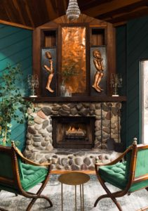 Habitas Venice Beach Clubhouse - Living Room fireplace - By Read McKendree_