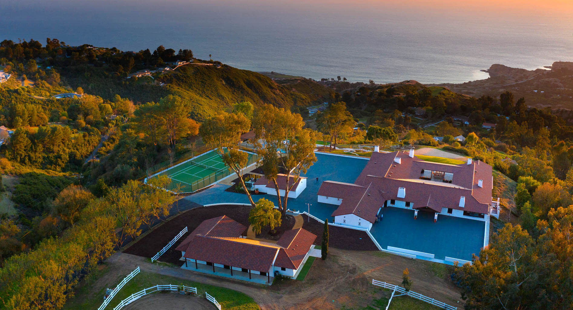 Spanish colonial in Rolling Hills aerial view