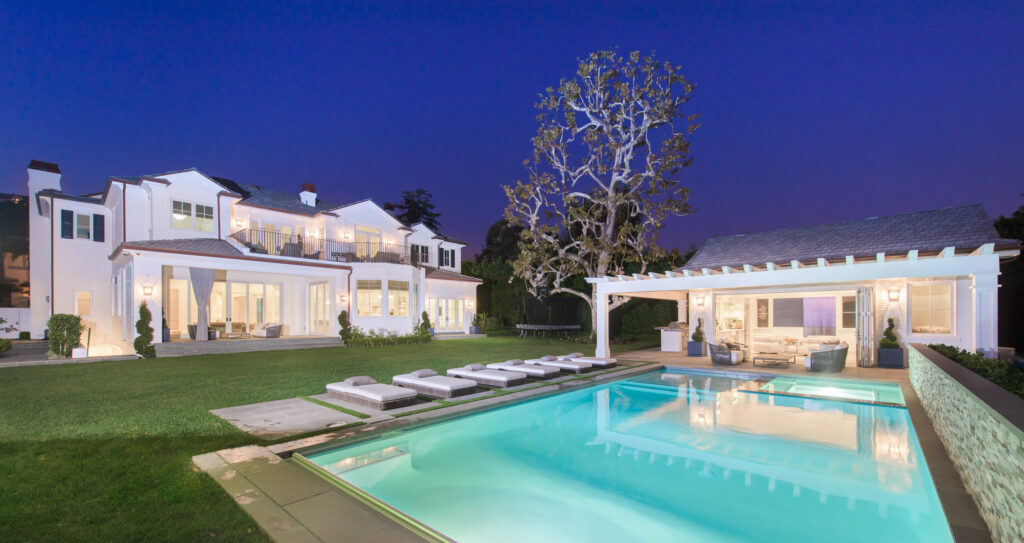 white brick traditional home in pacific palisades