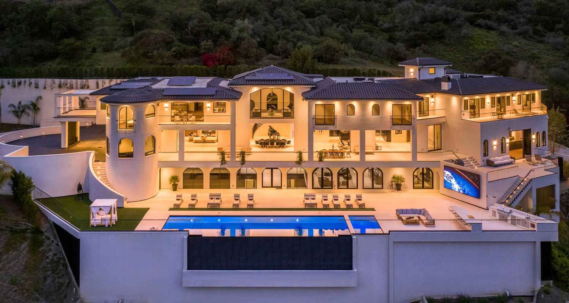 aerial view of mansion in la