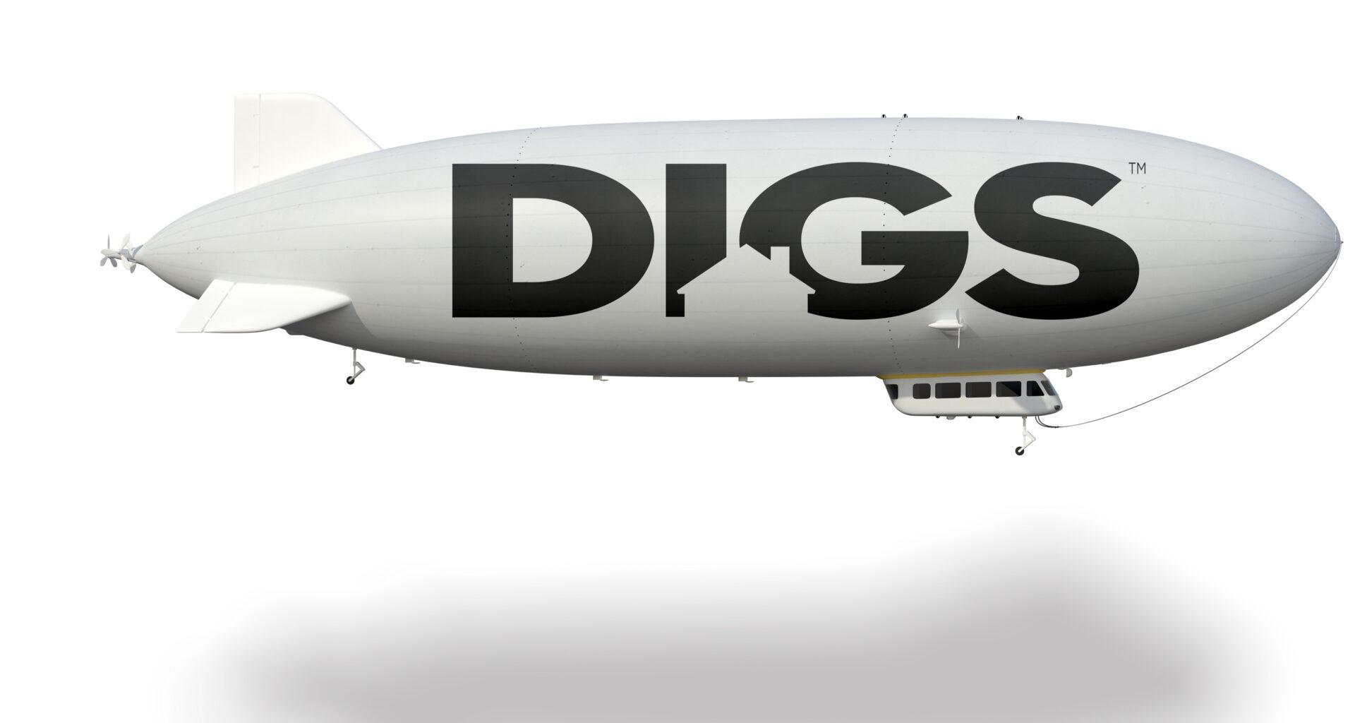 blimp advertising DIGS logo