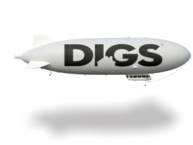 blimp advertising DIGS logo
