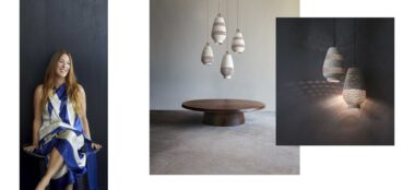 Laura Aviva, L'Aviva Home, New York City, handmade, lighting, leather pouf,
