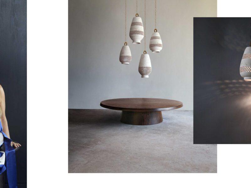Laura Aviva, L'Aviva Home, New York City, handmade, lighting, leather pouf,